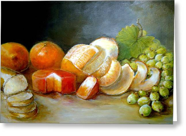 Greeting Card featuring the painting Luncheon Delight - Still Life by Bernadette Krupa