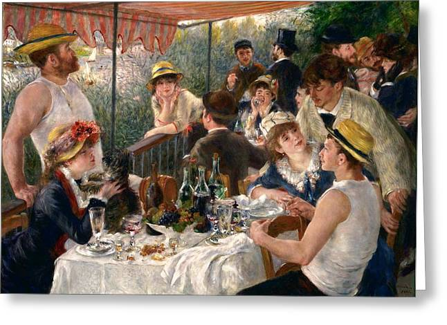 Luncheon Of The Boating Party Greeting Card by Pierre-Auguste Renoir