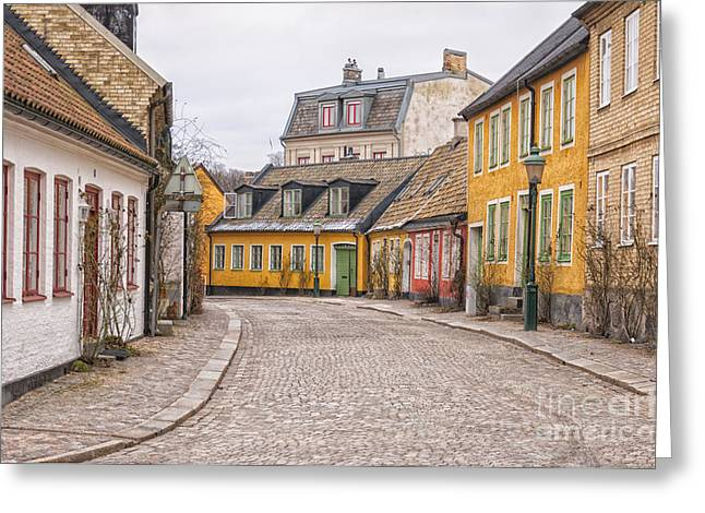 Lund Cobbled Street Scene Greeting Card by Antony McAulay