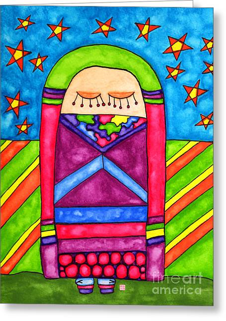 Lupita Dreams Of Starlight Greeting Card by Emily Lupita Studio