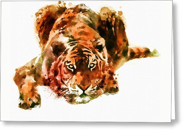 Lurking Tiger Greeting Card by Marian Voicu