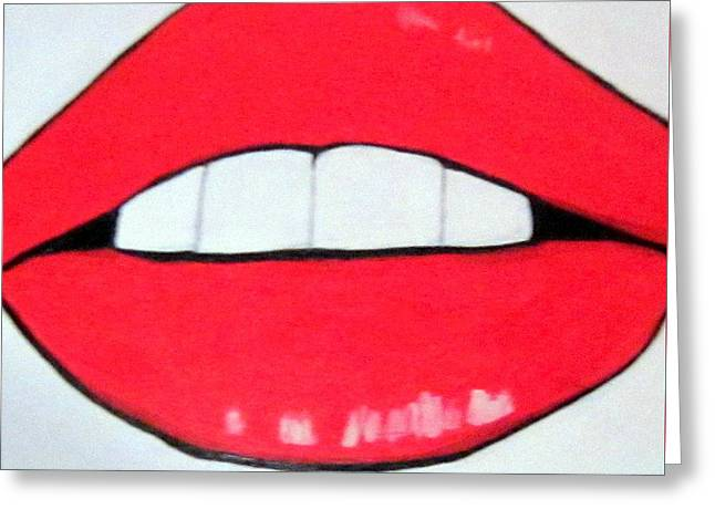 Greeting Card featuring the painting Luscious Lips by Nora Shepley
