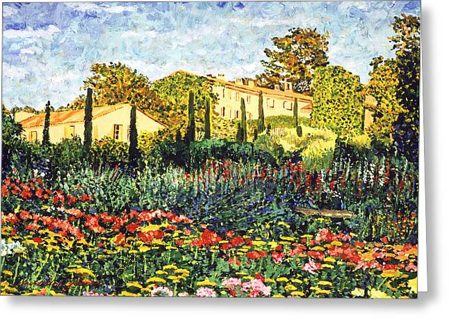 Lush Gardens In Provence Greeting Card by David Lloyd Glover