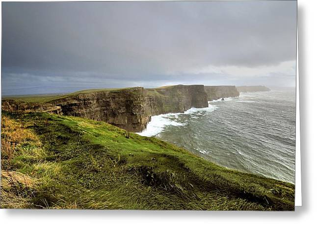 Lush Grass At Cliffs Of Moher In Ireland Greeting Card by Jan Sieminski