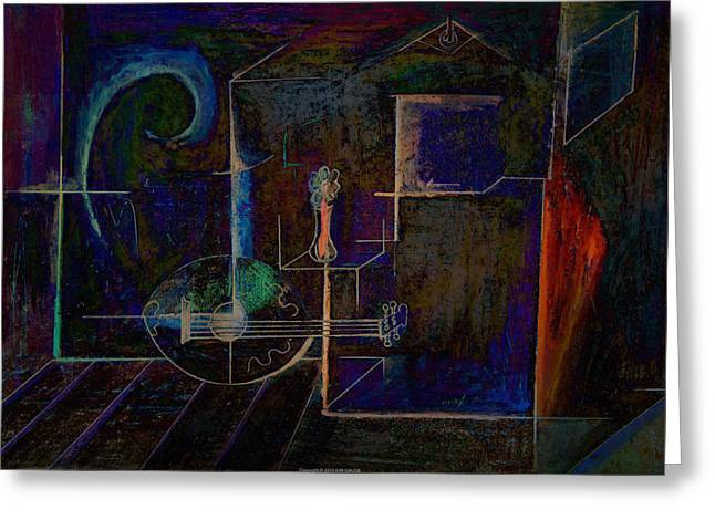 Greeting Card featuring the digital art Lute By Night by Kim Gauge