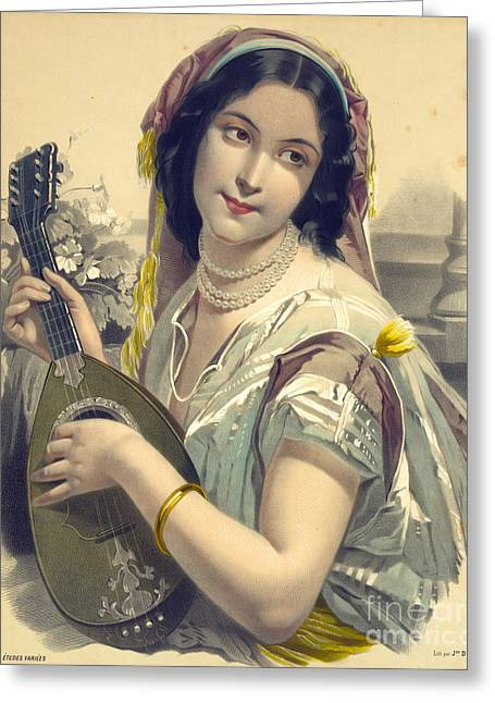 Lute Player 1850 Greeting Card