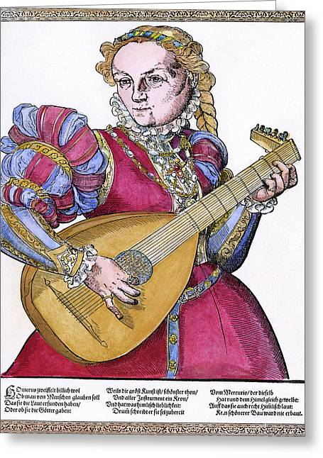Lutenist, 16th Century Greeting Card by Granger