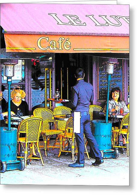 Cafe Lutetia Ile Saint Louis Paris Greeting Card by Jan Matson
