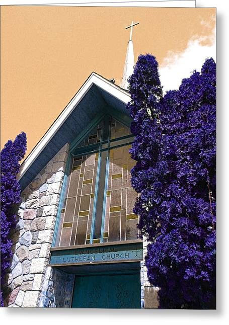 Greeting Card featuring the photograph Lutheran Church Steeple by Laurie Tsemak