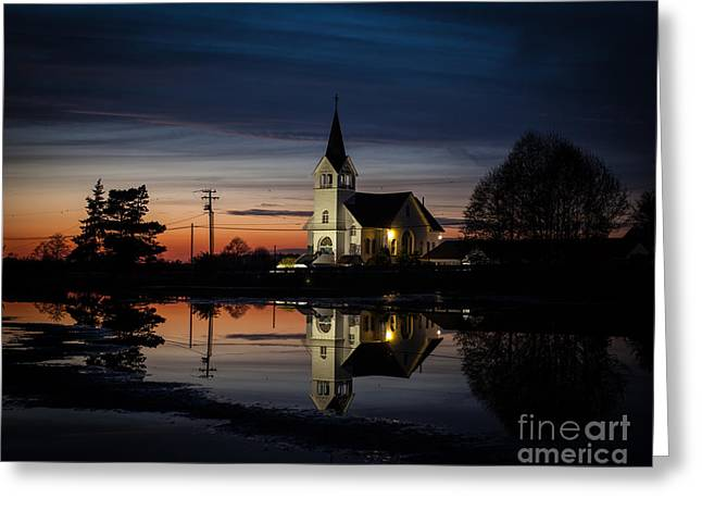 Lutheran Sunset Greeting Card by Mike Reid