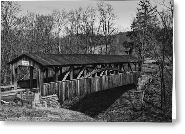 Luther's Mill Covered Bridge Black And White Greeting Card