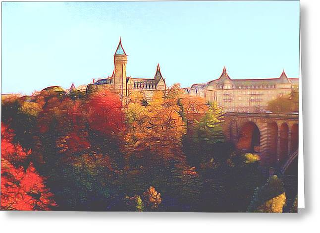 Luxembourg City Skyline Greeting Card by Dennis Lundell