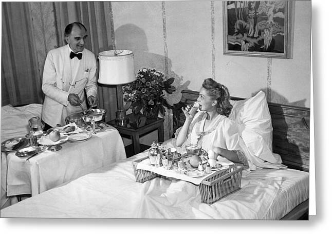 Luxurious Room Service Greeting Card by Underwood Archives
