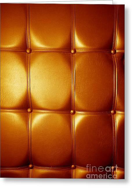 Luxury Genuine Leather. Golden Color Greeting Card by Michal Bednarek