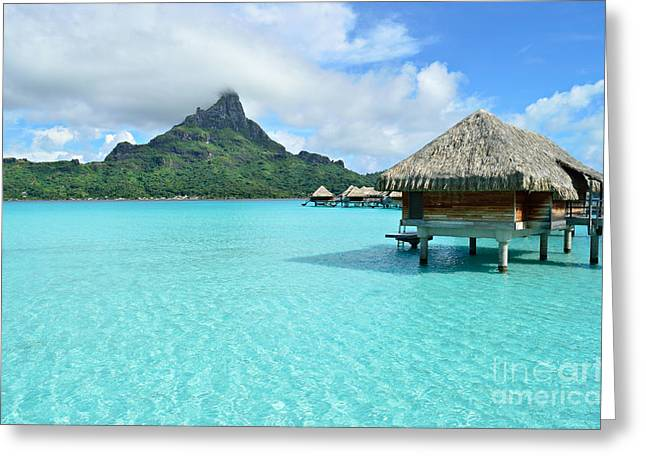 Greeting Card featuring the photograph Luxury Overwater Vacation Resort On Bora Bora Island by IPics Photography