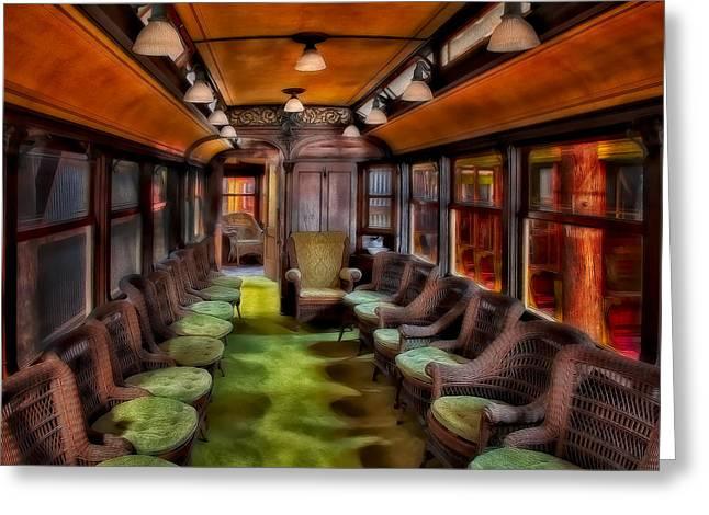 Luxury Trolley Train Greeting Card by Susan Candelario
