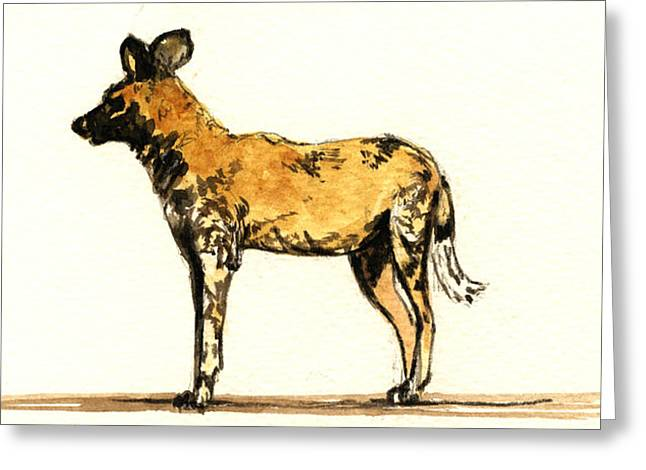 Lycaon Wild Dog  Greeting Card by Juan  Bosco