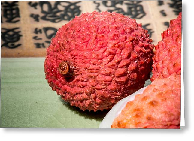 Lychee Fruit Greeting Card by Jim DeLillo