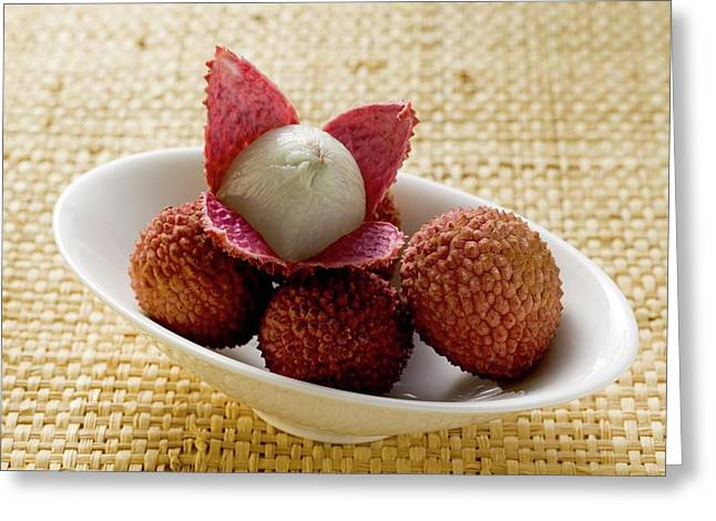 Lychees In White Bowl Greeting Card