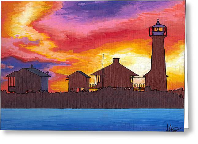 Lydia Anne Lighthouse At Sunset Greeting Card