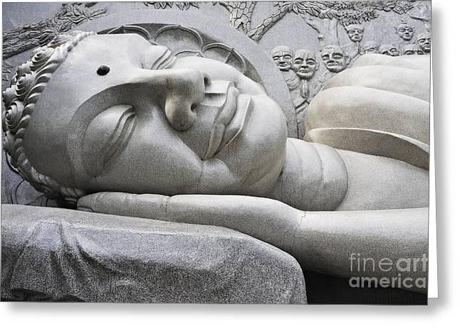 Lying Buddha Statue Greeting Card by Sami Sarkis