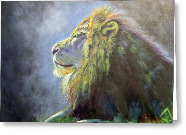 Lying In The Moonlight, Lion Greeting Card