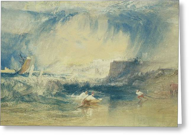 Lyme Regis, Dorset, England, C.1834 Wc On Paper Greeting Card by Joseph Mallord William Turner