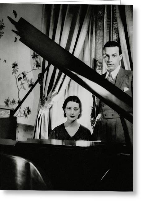 Lynn Fontanne And Alfred Lunt At A Piano Greeting Card by Cecil Beaton