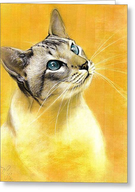 Greeting Card featuring the drawing Lynx Point Siamese by VLee Watson
