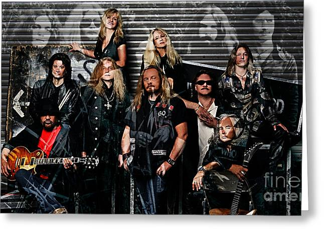 Lynyrd Skynyrd Transition Over Time Greeting Card by Marvin Blaine