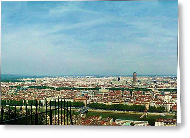Lyon From The Basilique De Fourviere-color Greeting Card by Paulette B Wright