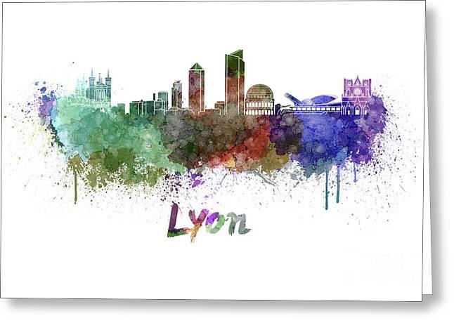 Lyon Skyline In Watercolor Greeting Card