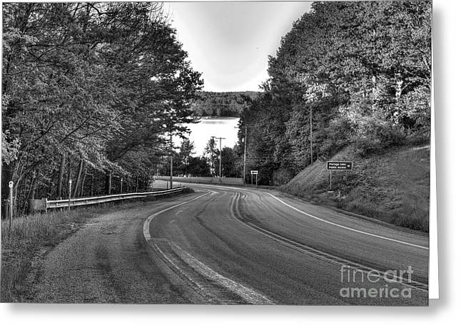 M-22 Through Onekama In Black And White Greeting Card