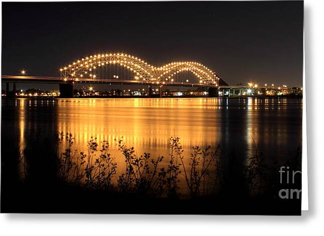 The Hernando De Soto Bridge M Bridge Or Dolly Parton Bridge Memphis Tn  Greeting Card by Reid Callaway