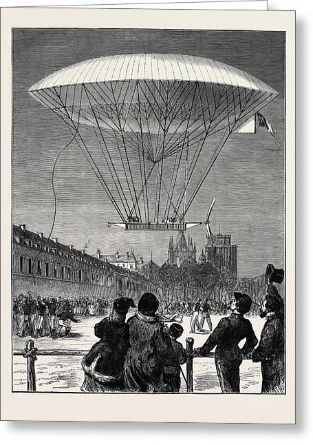 M. Dupuy De Lmes New Navigating Balloon The Ascent At Fort Greeting Card by English School