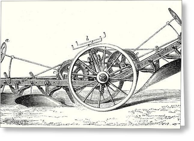 M. Fowlers Steam Plough Greeting Card