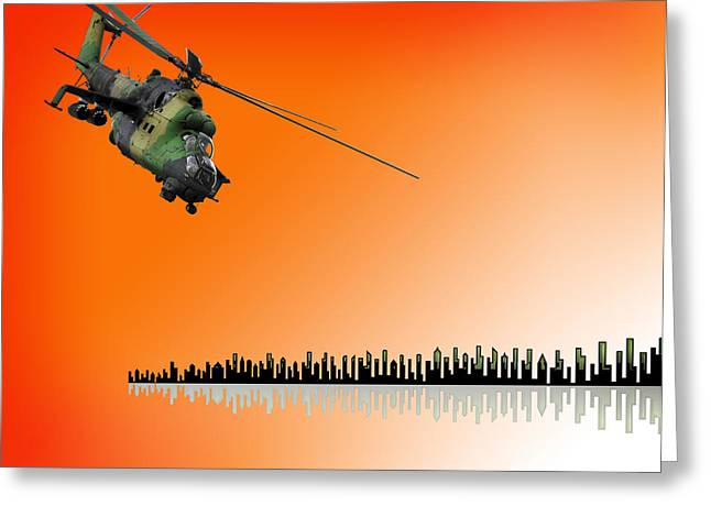 M I - 24 Hind Russian Attack Helicopter Greeting Card