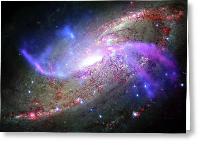 M106 Galaxy Greeting Card by Nasa/cxc/ Caltech/p.ogle Et Al./stsci/jpl-caltech/nsf/nrao/vla