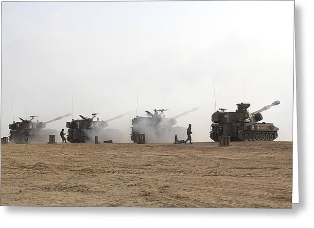 M109 Self-propelled Howitzers Firing Greeting Card by Ofer Zidon