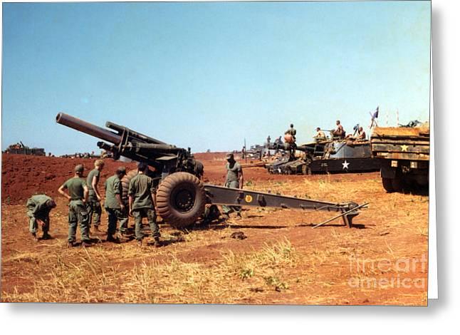 M114 155 Mm Howitzer Was A Towed Howitzer 4th Id Pleiku Vietnam Novembr 1968 Greeting Card
