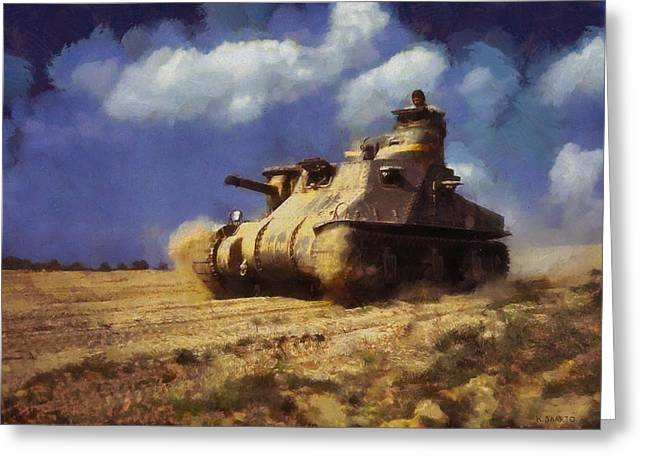 Greeting Card featuring the painting M3 Lee Tank by Kai Saarto