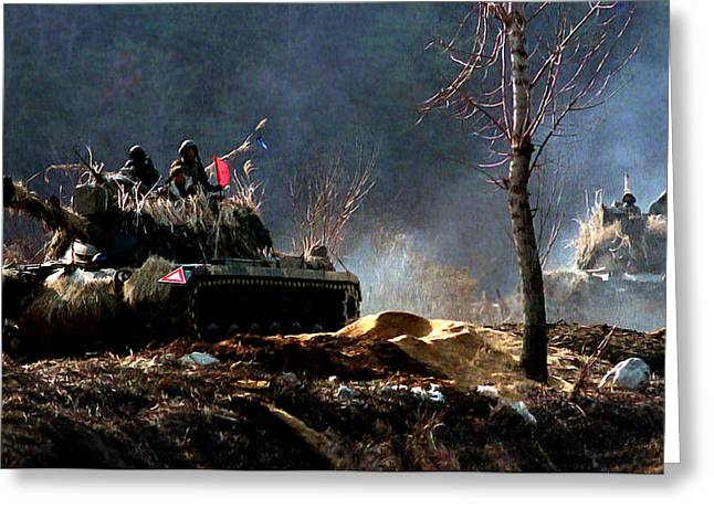 M48 Tanks An Tankers On The Job In Korean War Greeting Card by Bob and Nadine Johnston