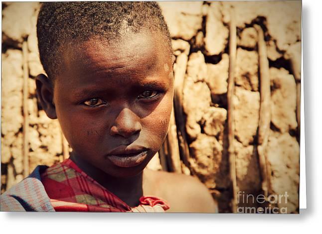 Maasai Child Portrait In Tanzania Greeting Card by Michal Bednarek