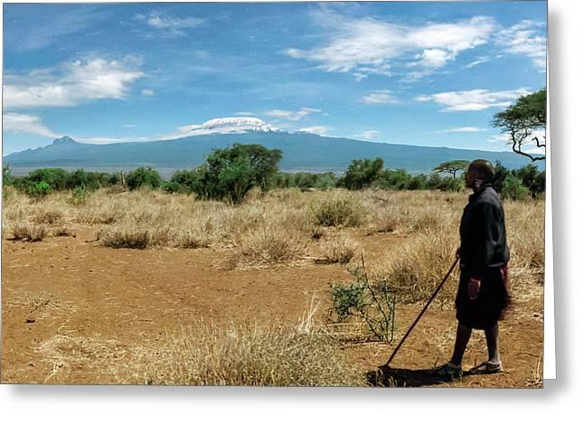 Maasai Man Greeting Card by Babak Tafreshi