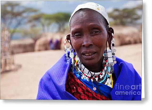 Maasai Woman Portrait In Tanzania Greeting Card