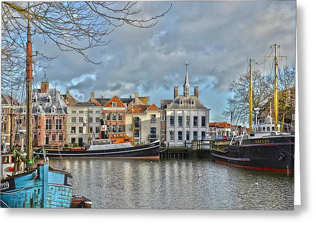 Maassluis Harbour Greeting Card