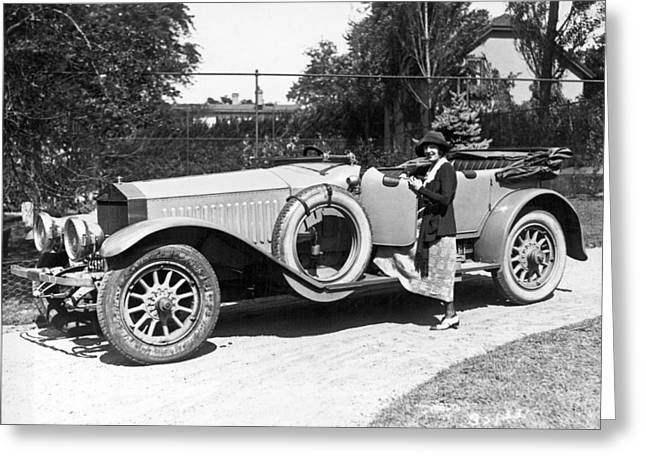 Mabel Normand In A Rolls Royce Greeting Card by Underwood Archives