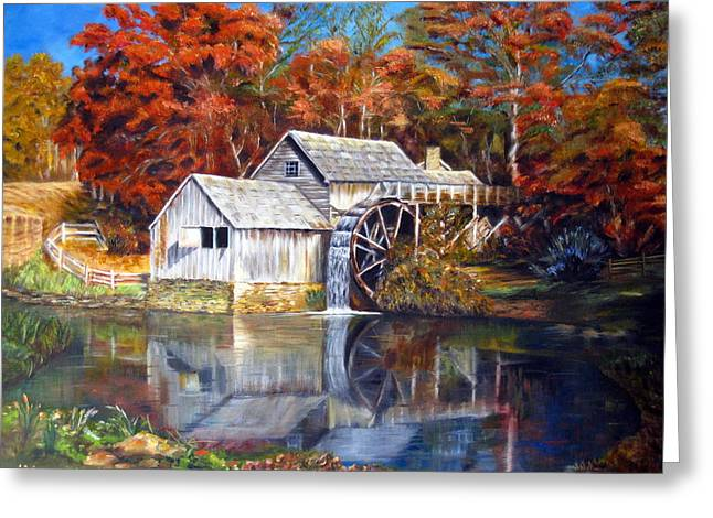 Greeting Card featuring the painting Mabry Mill Blue Ridge Virginia by LaVonne Hand