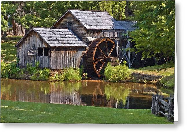 Parkway Digital Greeting Cards - Mabry Mill In Summer Greeting Card by Patrick M Lynch