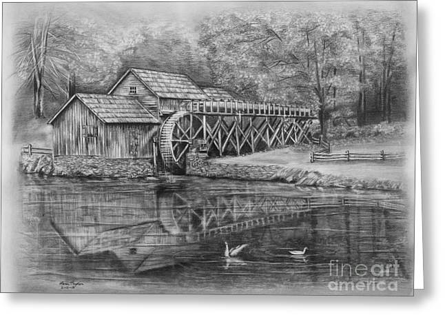 Mabry Mill Pencil Drawing Greeting Card